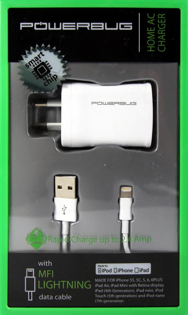 POWERBUG2 MFI LIGHTNING A/C USB WALL RAPID CHARGER